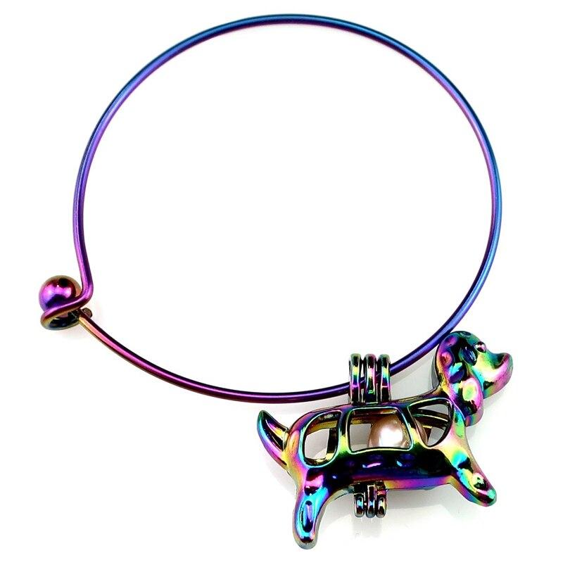 Rainbow Color Bangle Bracelet Pick a Pearl Cage Dangle Dog Puppy Pendant B-C583