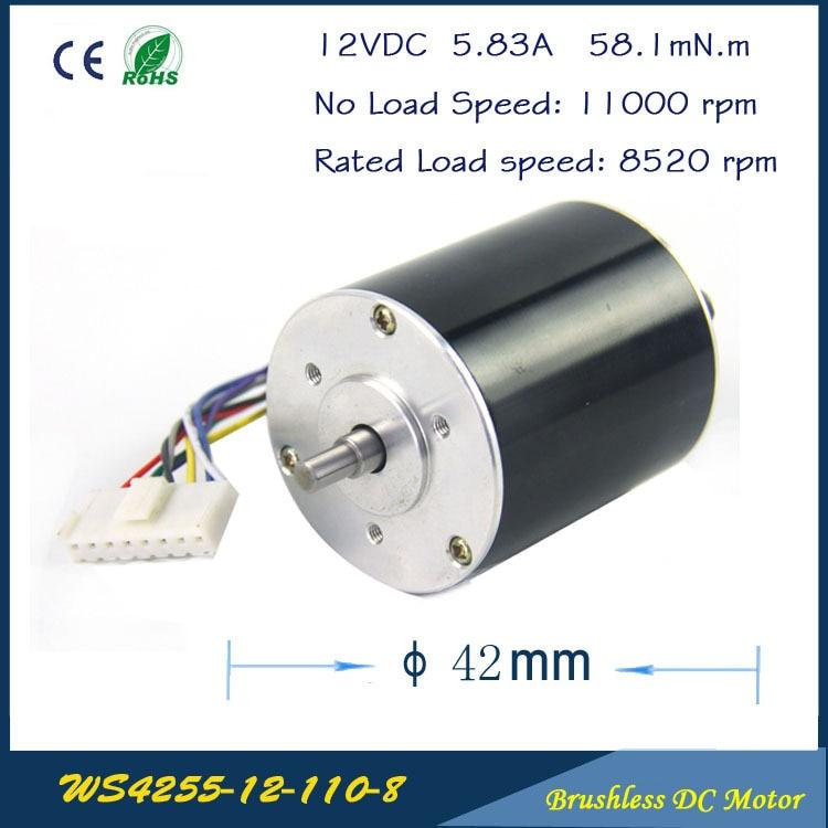 11000rpm 67W 12V 5.83A 42mm * 55mm 3 fases hall sin escobillas DC Micro Motor de alta velocidad DC Motor 12V para la caja de engranajes de la bomba de aire del ventilador