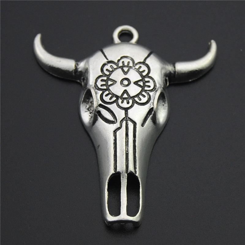 3 шт серебряный цвет большой бык/бык голова Подвески-черепа для ювелирных изделий A2298