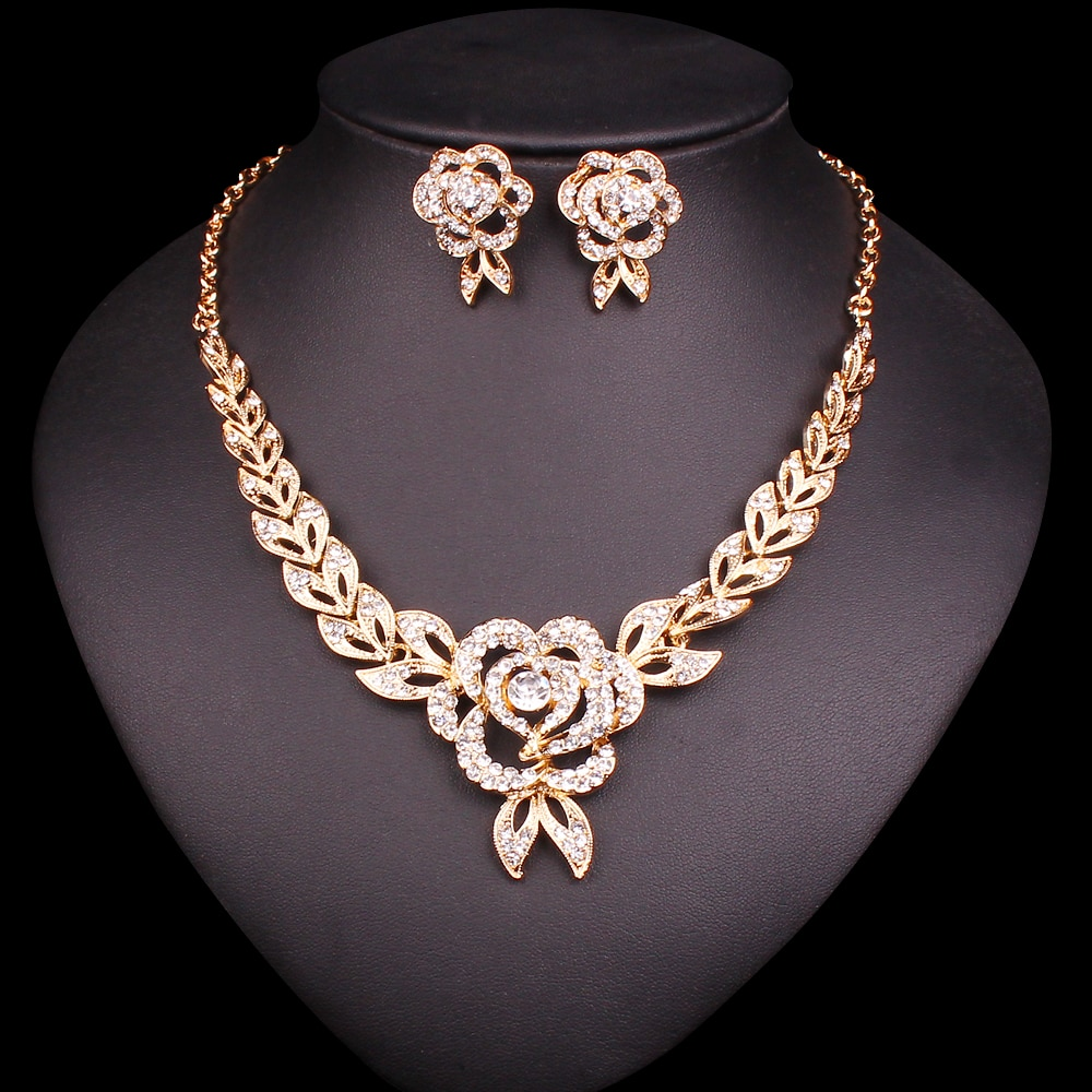 Conjunto de joyería de boda de diamantes de imitación a la moda para novias dama de honor fiesta traje accesorios de vestido collar nupcial pendientes conjuntos