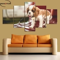 cute dog animal prints poster 5 panels wall art unframed canvas spray painting modern decoration for living room