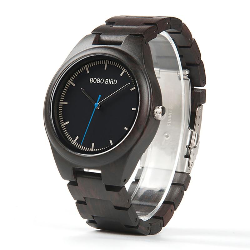 BOBO BIRD relojes de marca de moda hechos a mano de madera negra Natural reloj de pulsera con caja de regalos de madera relogio masculino B-O03