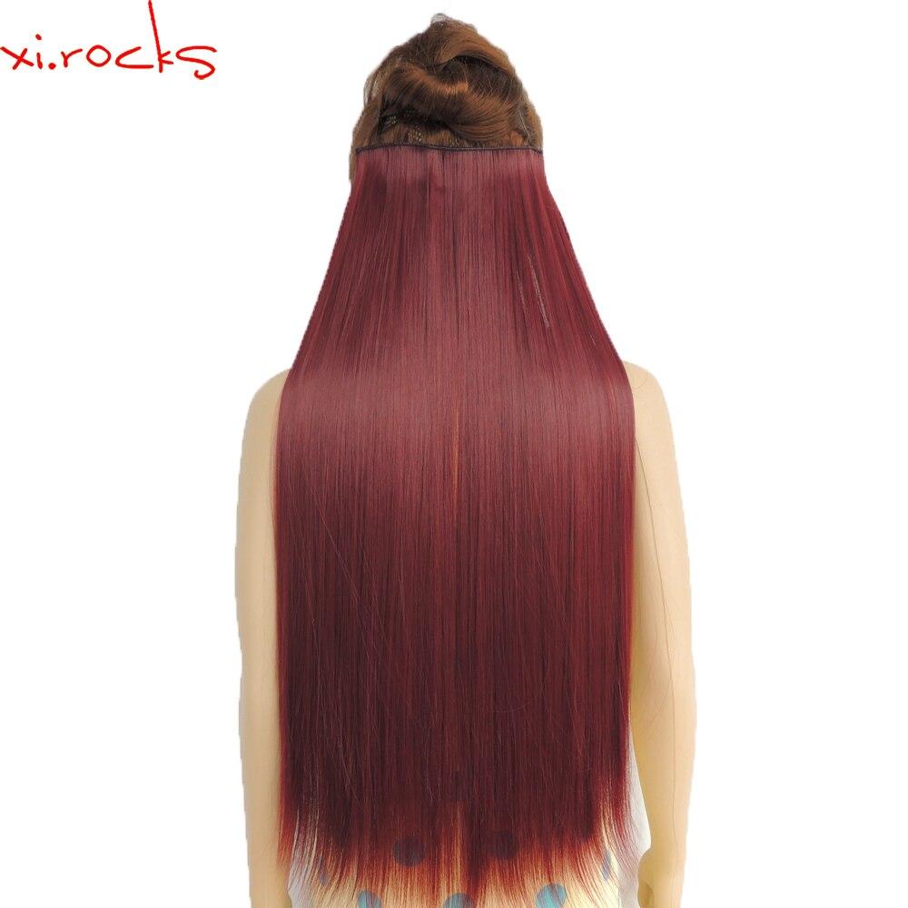 Wjz12070/Bug 5 piezas Xi. rocks pelucas sintéticas Clip en extensiones de cabello longitud recta Peluca de fibra de Color rojo vino