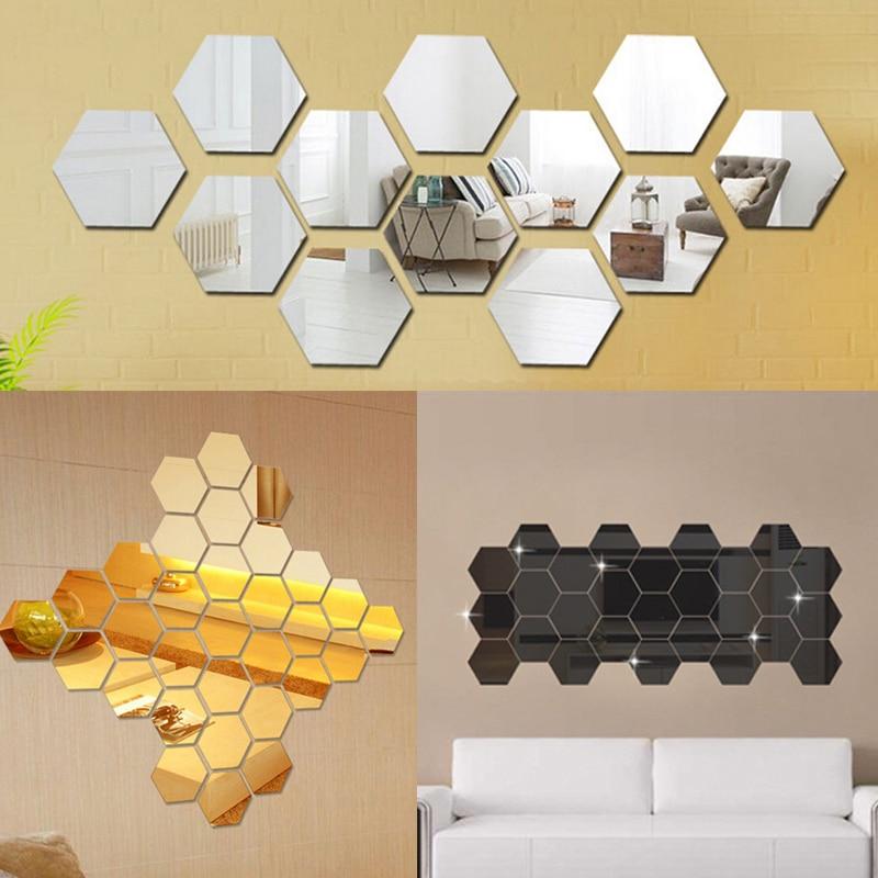 12 uds, Mini espejo 3D Hexagonal, pegatinas de pared para restaurante, pasillo, suelo, adhesivo decorativo para espejo de personalidad, adhesivo para sala de estar