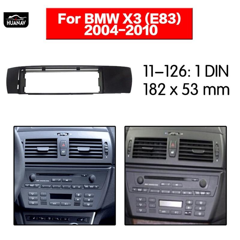 HUANAV Radio de coche Fascia CD de coche DVD fascia para BMW X3 (E83) 2004-2010 1DIN estéreo Fascia Dash CD de instalación Marco de panel