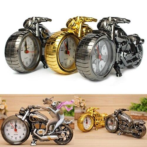 Creative Motorcycle Shape Quartz Clock Alarm Clock Time Keeper Desktop Decor