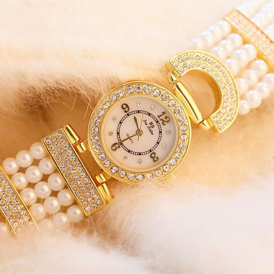 Rosa Diamante, Oro y Plata Perla mujer reloj pulsera pequeña moda señoras vestido cuarzo relojes de pulsera Relogio femenino famoso reloj