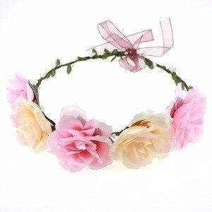 Girl Floral Crown in Pink Bohemian Fairy Garden Floral Crown Berry Flower Headbands Wedding Christening Hair Accessories
