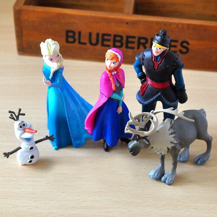 5pcs/lot Princess Snow Queen Model Kristoff Sven Olaf PVC Action Figure Toy Juguetes Gift For Children Snowman Figures Toys Gift