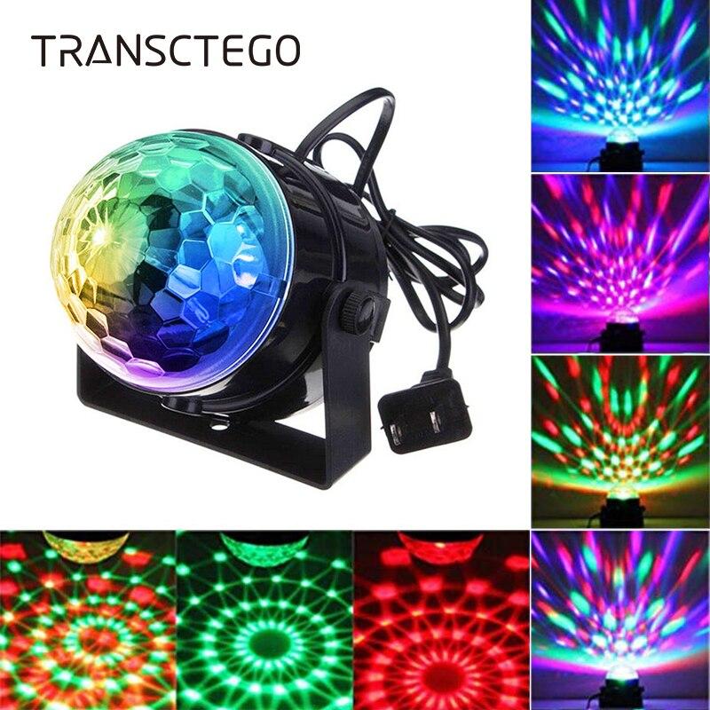 mini bola de discoteca luz de palco moving head lamp led rbg dj ativado por som strobe