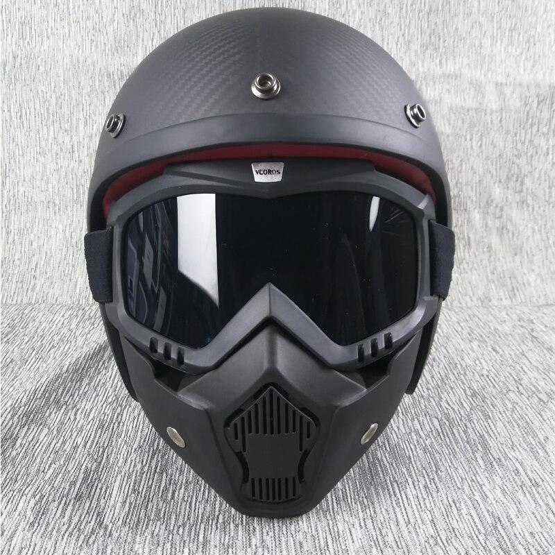 VCOROS Half face motorcycle helmet carbon fiber Shell high grade vintage retro helmets  ECE DOT Motorcycle Helmets