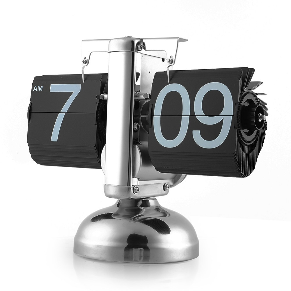 Reloj con tapa balanza Retro Digital soporte Auto Flip escritorio Reloj de Mesa Reloj Mesa Despertador Flip interno engranaje operado Reloj de cuarzo