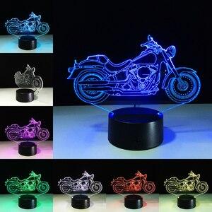 Новая светодиодсветодиодный настольная лампа в форме двигателя, сенсорный ночник, 7 цветов, меняющиеся цвета, мотоциклы, спящие лампы, акрил...