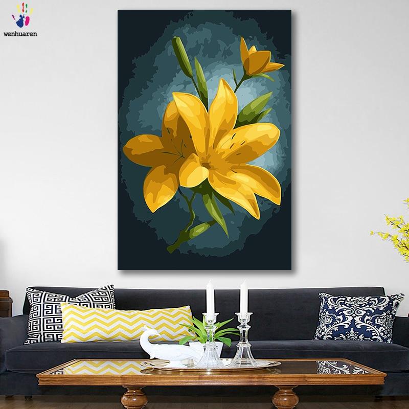 Imágenes de manualidades para colorear por números con colores amarillo y blanco flores cuadro dibujo pintura por números hogar enmarcado
