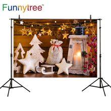 Funnytree photocall Fondo trineo de invierno para niños marrón madera pared vela Navidad estrella para árbol papel tapiz fondos