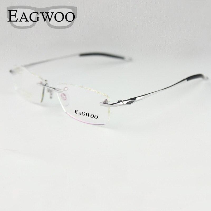 Gafas de titanio puro, montura óptica sin montura, gafas graduadas sin marco para hombres, gafas de silicona 16123