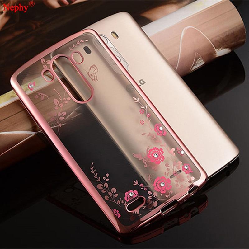 Мягкий силиконовый прозрачный чехол Nephy с алмазными цветами для LG G3 G4 G5 G6 K10 G 3 4 5 6 K 10 двойной чехол на заднюю панель мобильного телефона Корпус