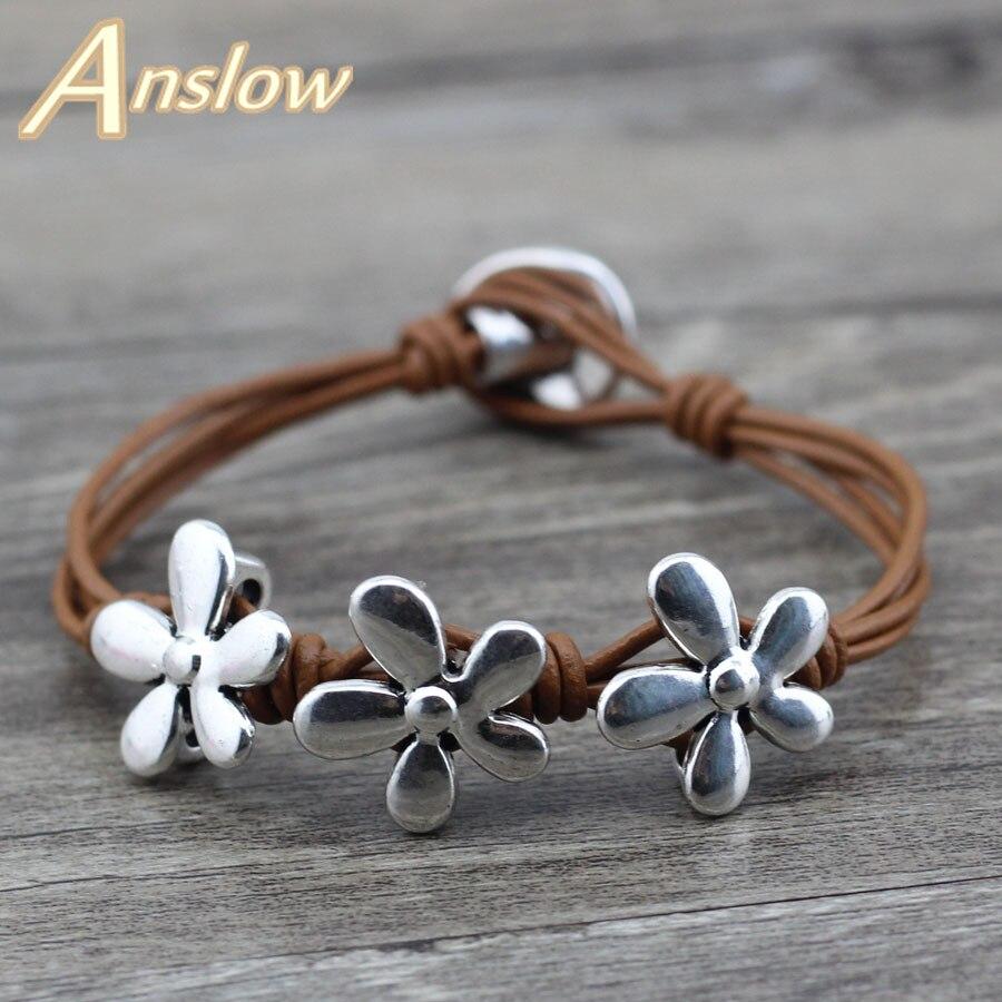 Женский кожаный браслет с цветами Anslow, рождественский подарок, новинка 2018