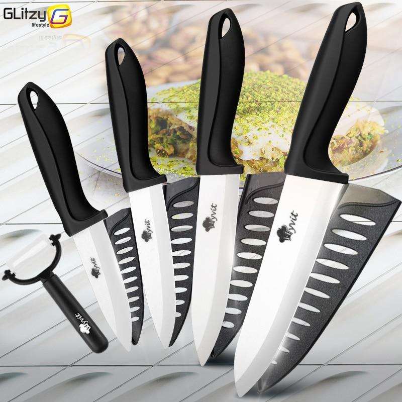 Ceramic Knife 3 4 5 + 6 Inch Kitchen Serrated Bread Set 3Pcs/ 4Pcs Chef Utility Slicer Vegetable Peeler White Zirconia Blade