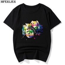 Divertidas camisetas MFERLIER de talla grande 6XL 7XL 8XL de manga corta para hombre, estampado creativo de verano para cámara Hipster zebra, camiseta de estilo japonés