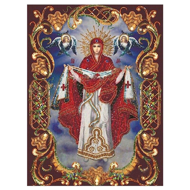 Bordado, 3d diy retrato para pintar con diamantes, Cuadrado lleno de diamantes, íconos bordados, imagen religiosa de la Virgen María del mosaico 0423