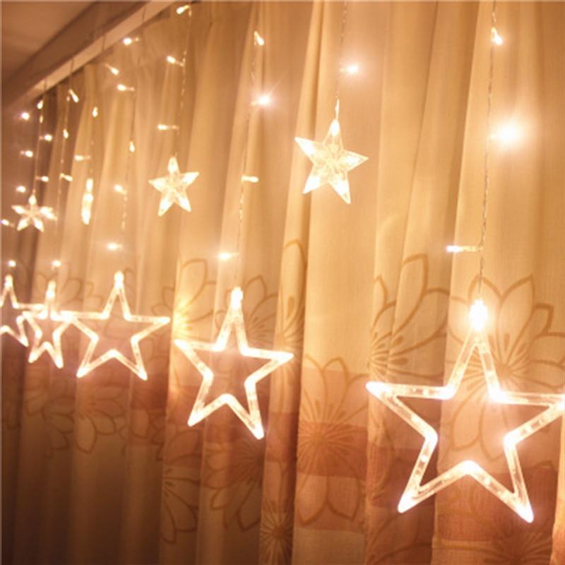 2.5M Fairy Star Led Curtain String Light 220V Xmas Garland Light For Wedding Party Holiday Decoration string lights led string