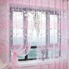 Rideau en Voile motif Floral   Tringle à porter, rideau pour fenêtre, chambre denfants, salon, panneau en Voile pur, rideaux