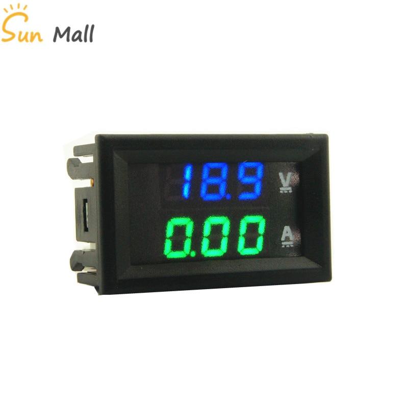 Envío Gratis DC 100V 10A azul-verde 0,28 pulgadas LED voltímetro Digital amperímetro voltímetro amperímetro indicador de voltaje