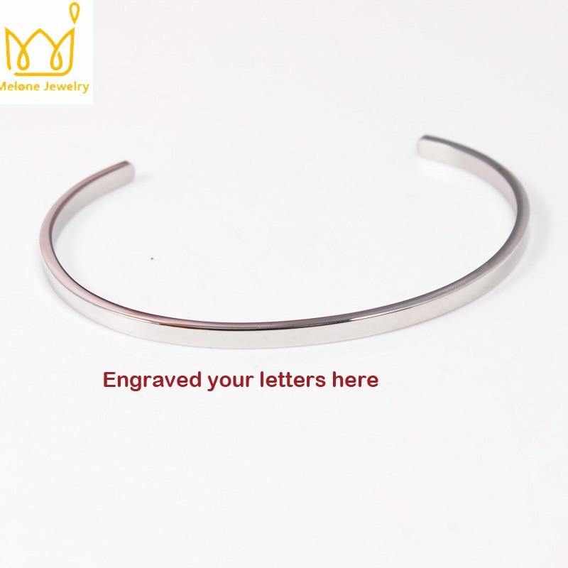 20Pcs/lot 3 Color Stainless Steel Bangle Bracelet Engraved Your Letters Banlge Silver Plated For Women&Men Gift