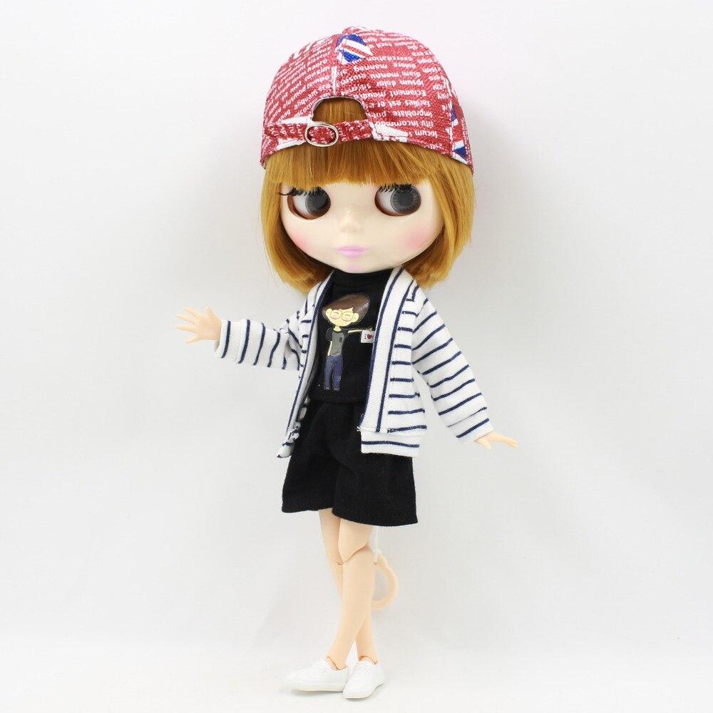DBS blyth boneca icy licca corpo conjunta outfit roupas chapéu vermelho preto shorts cool presente brinquedo de menina