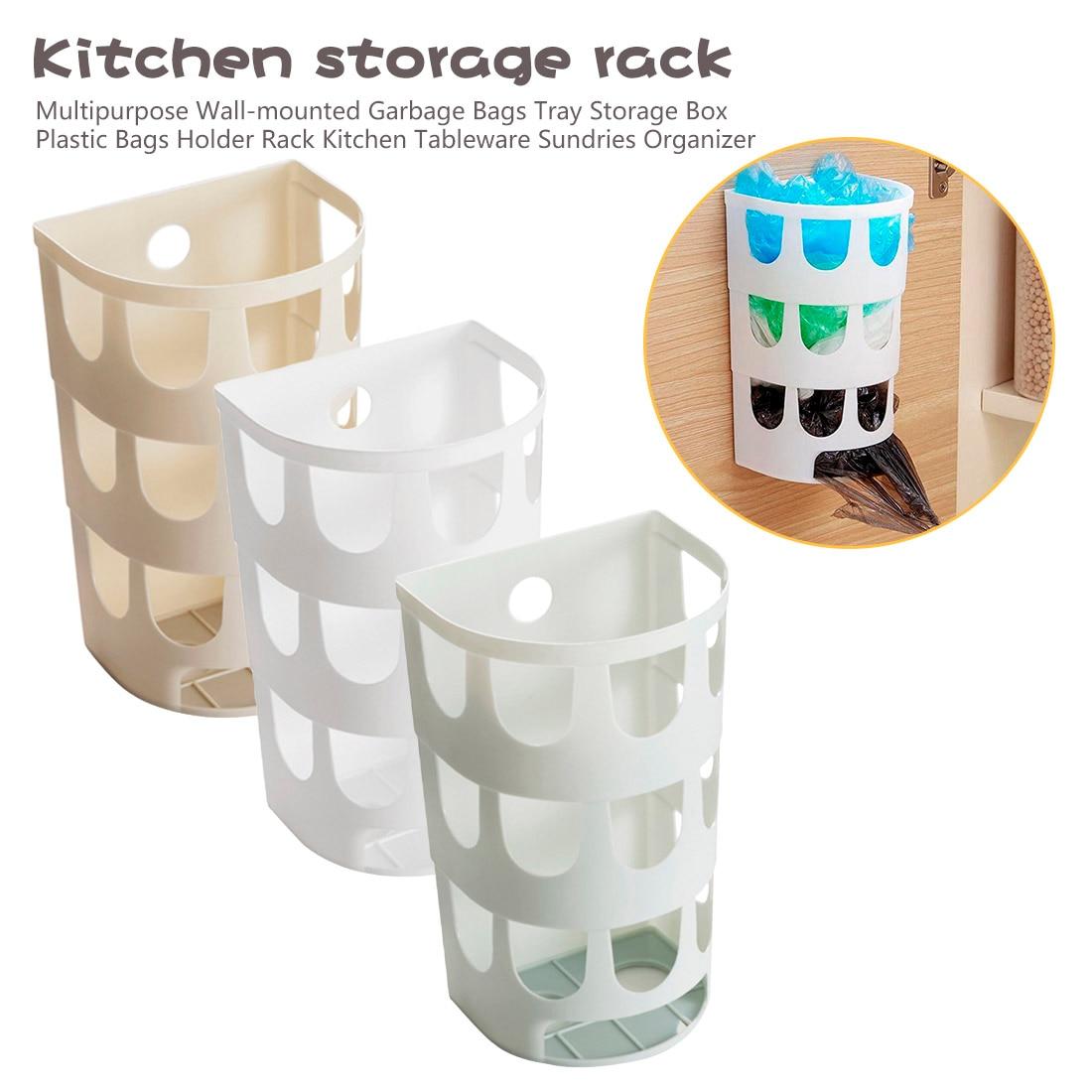 Organizador de artículos de mesa de cocina, multiusos, bolsas de basura montadas en la pared, caja de almacenamiento de bandeja, bolsas de plástico, estante de soporte, 1 ud.