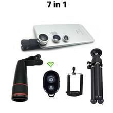 7in1 Kit dobjectif de caméra de téléphone 12X téléobjectif + grand Angle Macro + oeil de poisson + télécommande Bluetooth + trépied pour iphone et Android