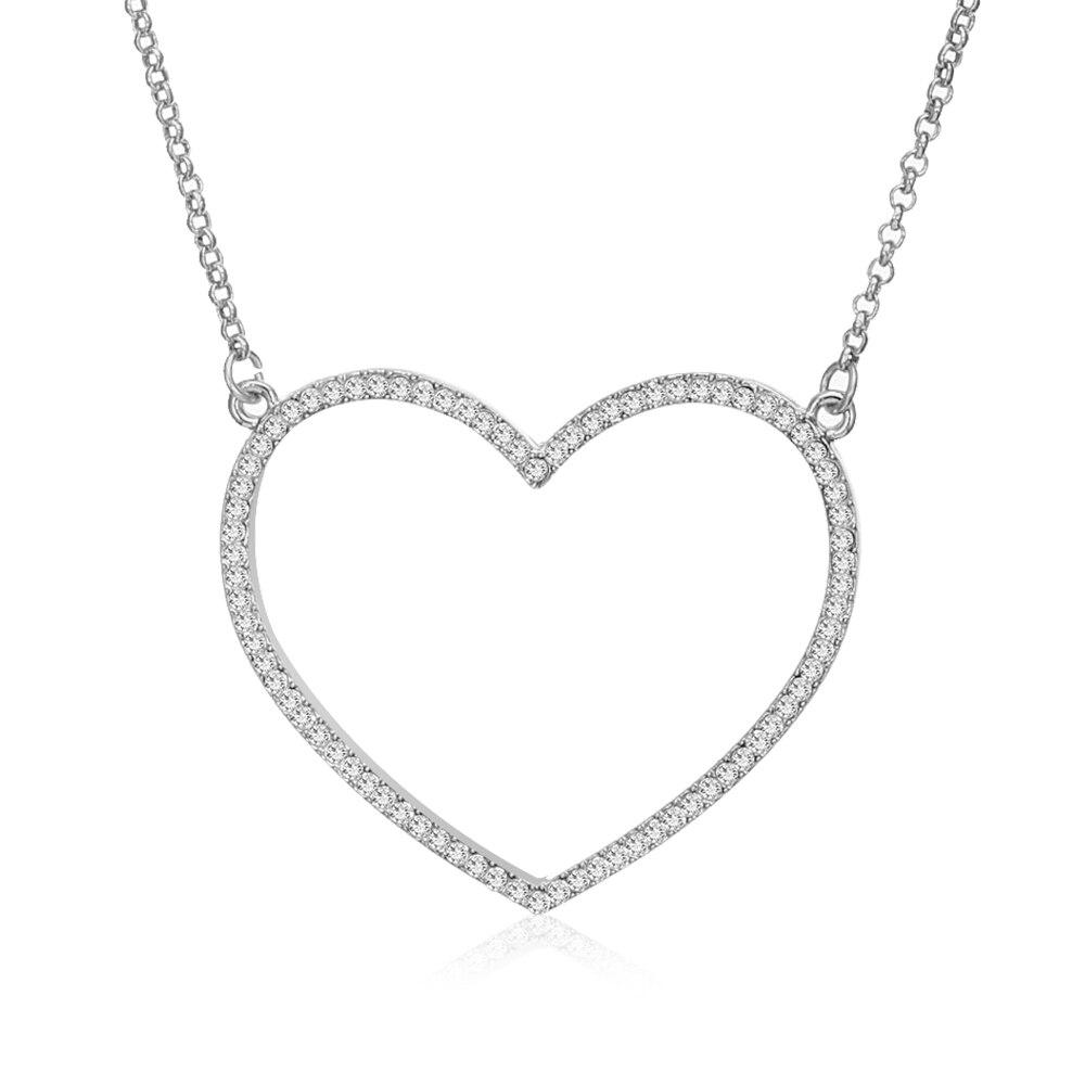 Collares con colgante de corazón de cristal a la moda, collar grande de oro Simple para mujer, joyería de moda, cadena de clavícula 2019, regalo de fiesta de boda