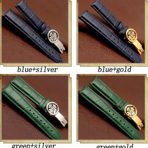 Genuine Leather Strap FOR PP CALATRAVA / Complications Timing Collection for Men's Bracelet Folding Buckle Black Blue watchband
