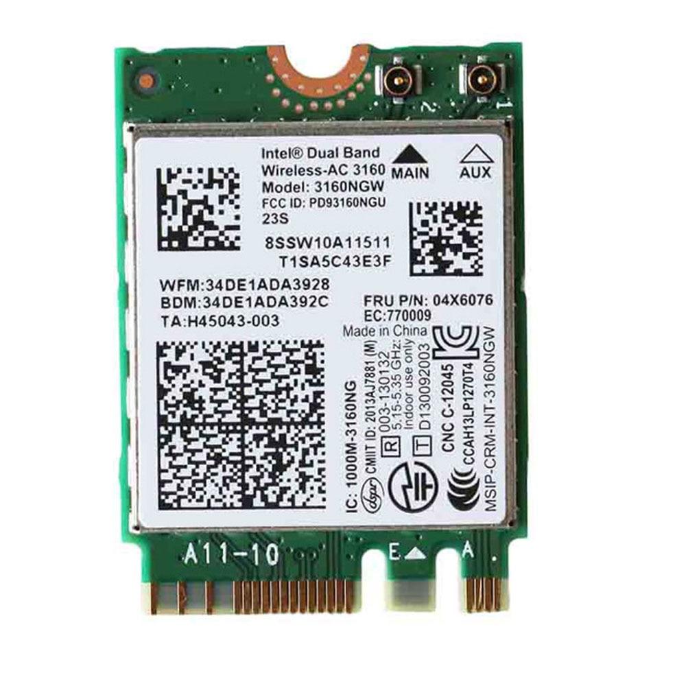 Intel Двухдиапазонная Беспроводная-AC 3160 802.11ac + BT 4,0 WiFi карта для Lenovo Yoga 3, Yoga 500 E50 B51 B70 G40 G70 Z70 Series, FRU 04X6076