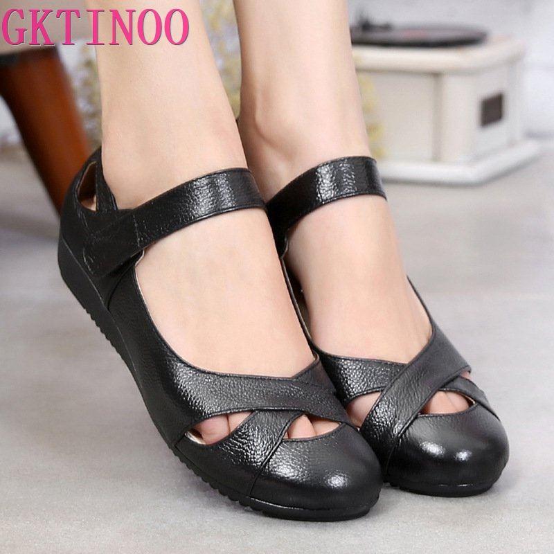 Женские туфли на плоской подошве GKTINOO, мягкие комфортные туфли из натуральной кожи на низком каблуке, размер 43