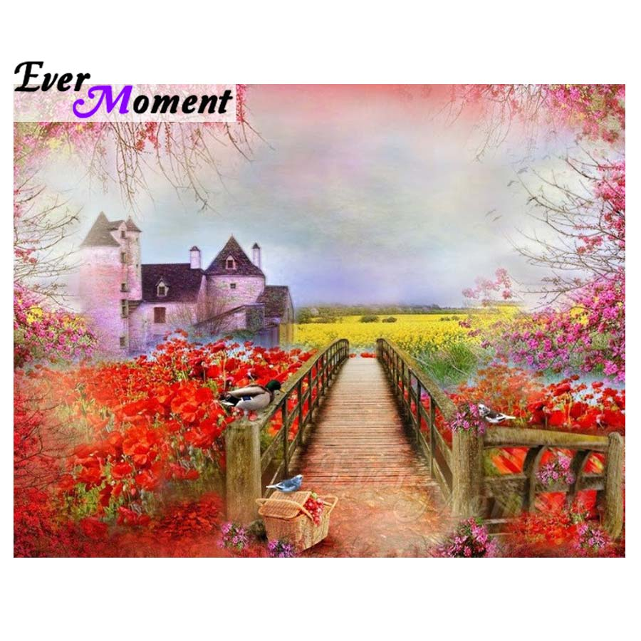 Ever Moment 5D DIY Алмазная картина, Садовый дом, картина, мозаика, вышивка крестом, алмазная вышивка, полностью квадратная дрель, камень S2F1149