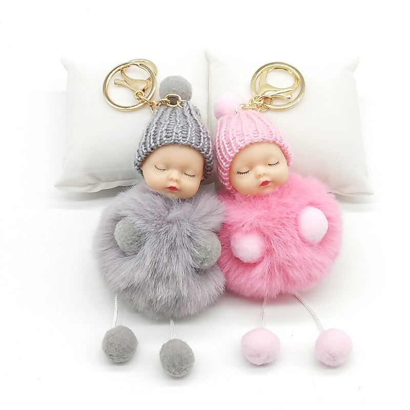 Hands and feet Sleeping Baby Doll Keychain Pompom Rabbit Fur Ball Key Chain Car Keyring Women Holder Bag Pendant charm jewelry