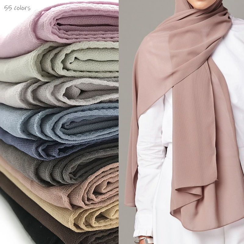 Bufanda lisa de Chifón con diseño clásico para mujer, bufandas sólidas y chal musulmán, hijabs de moda, bufanda Lisa para la cabeza