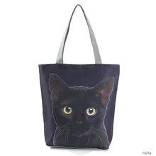 Miyahouse Cat Print Linen Reusable Shopping Bag Women Tote Bags High Quality Beach Shoulder Bag Cheap Price Lady Handbag