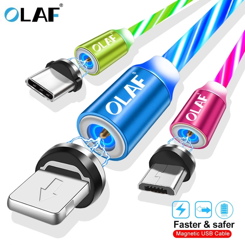 La luz LED USB magnético Cable de carga rápida Micro USB tipo C Cable de cargador para Iphone 7 8 X XR XS Max para Redmi nota 7 de