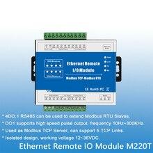 Ethernet RJ45 modbus tcp Sever 4 wyjścia przekaźnikowe modbus rtu/ASCII Master rozszerzają moduły we/wy M220T