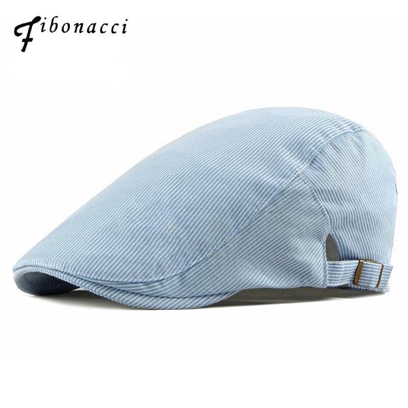 Fibonacci 2019 nueva moda boina a rayas algodón Ivy flat sombreros para hombres y mujeres newsboy cap