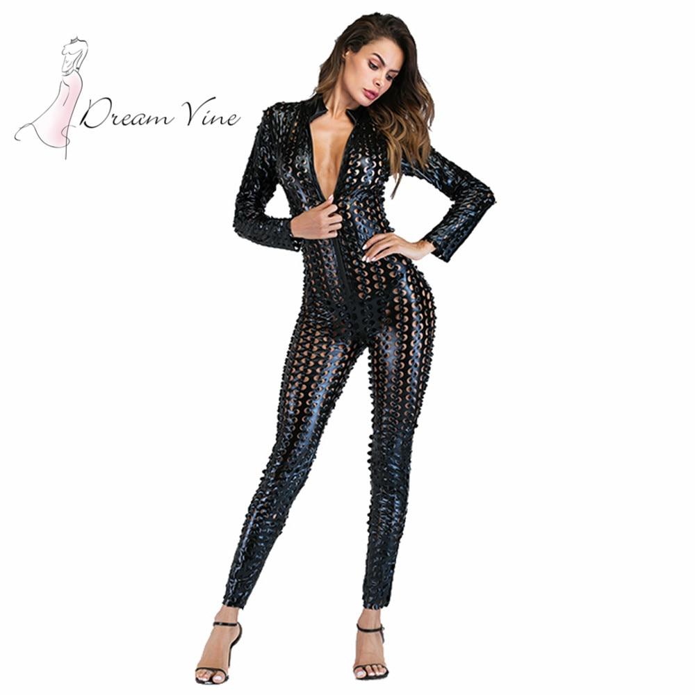 Wetlook Catsuit Faux Leather Jumpsuit for Women Long Sleeve Hollow Out Bondage Bodysuit Erotic Costume PU Leather Club Jumpsuit hollow out faux leather watch