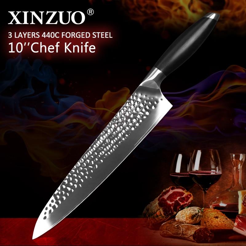 XINZUO-سكاكين مطبخ الشيف ، 10 بوصة ، فولاذ مقاوم للصدأ ، 3 طبقات ، لب 440C ، سكين لحم خضروات عالي الجودة ، مع مقبض G10