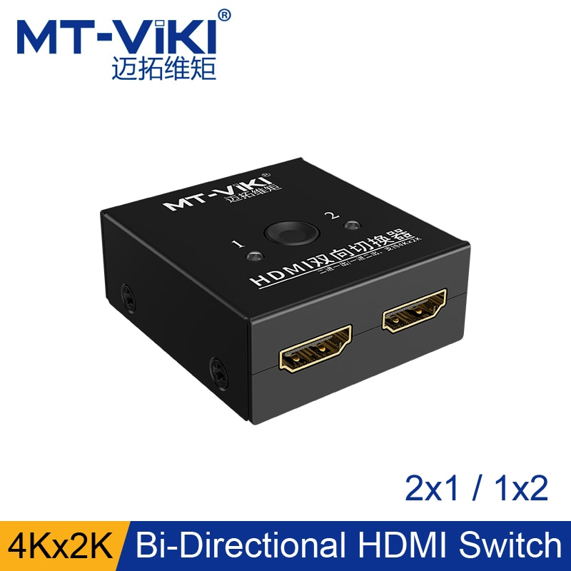 Mt-viki commutateur HDMI bidirectionnel 2 ports 1x2 2x1 4 K x 3 K Mini sélecteur vidéo pour PC TV Box Xbox PS4