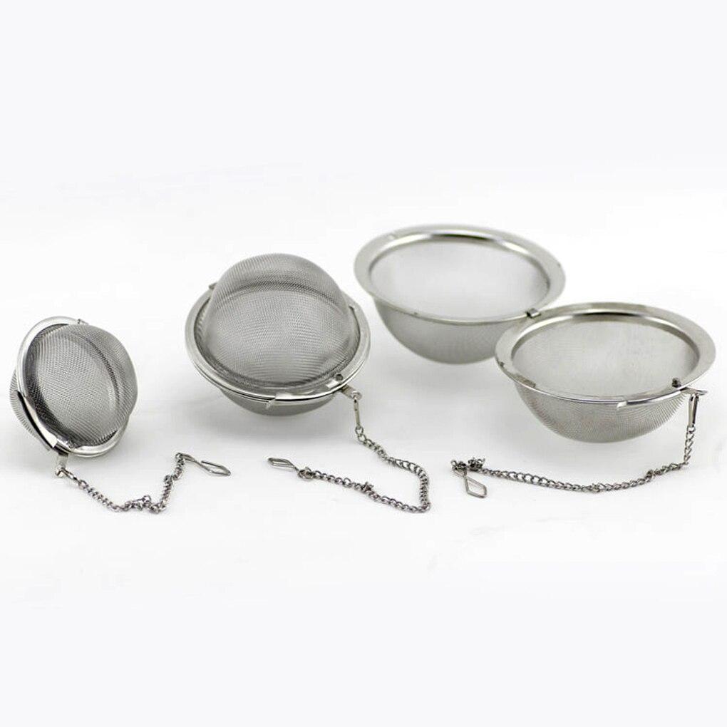 Filtro de café té con bola de malla de acero inoxidable de 3 tamaños, Infusor de malla con tapa, colador estilo bola