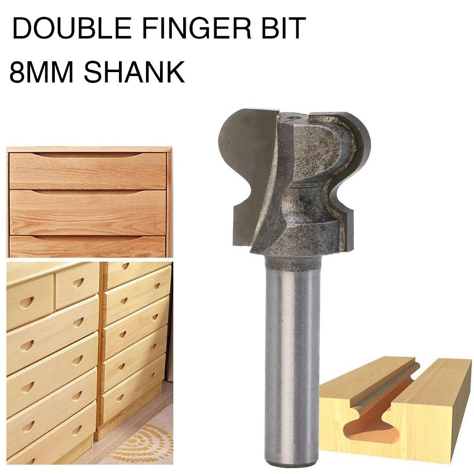 Ponteiras de roteador de haste de 8mm, para madeira, grau industrial, ferramentas de dedo duplo, fresa de madeira, ponta de dedo dupla