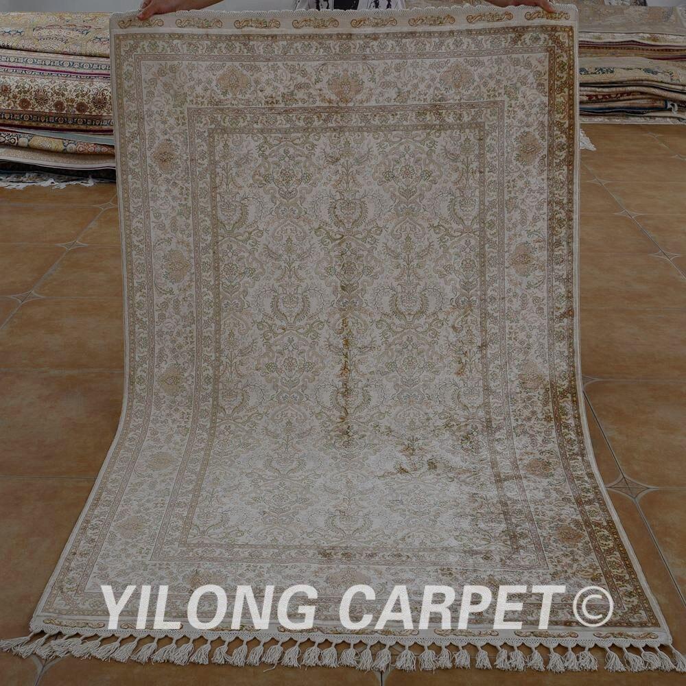 Yilong-سجادة حرير تقليدية 4 × 6.2 بوصة ، صناعة يدوية ، بني ، فانتاج ، شرقي ، ناعم (1534)