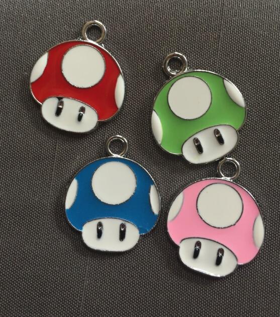 Lote de 50 Uds. De abalorios y pendientes de Metal esmaltados con cabeza de champiñón de Super Mario Bros de dibujos animados, joyería DIY para hacer recuerdos de fiesta L-05